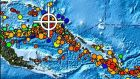A handout picture released by the US National Oceanic and Atmospheric Administration (NOAA) shows a map of the region (white cross) in Papua New Guinea where a 7.5 to 7.6 magnitude earthquake occured on Monday. Photograph: EPA
