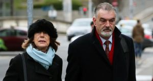 Ian Bailey arrives at the Four Courts with his partner  Jules Thomas on Monday morning. Photograph: Brian Lawless/PA Wire.