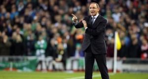 An animated Republic of Ireland manager, Martin O'Neill, during Sunday's European Championship 2016 Qualifier against Poland at the Aviva Stadium. Photograph: Morgan Treacy/Inpho.