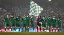 The Ireland players line up before kick-off in the 1-1 draw with Poland at the Aviva Stadium on Sunday night. Photograph: Donall Farmer/Inpho