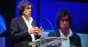 Stephen Rea  accepting his special tribute award during The Irish Times Irish Theatre Awards in February. Photograph: Aidan Crawley