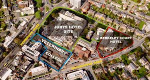 The Ballsbridge hotel sites, bought by Seán Dunne  in 2005 for €380m, which are likely to go on offer internationally, and the UCD veterinary college, bought by Ray Grehan for €171.5m and sold on for  €22.5.m.
