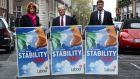 Joan Burton, Eamon Gilmore and Dominic Hannigan launch Labour's Stability Treaty campaign in 2012: Ireland is expected to exit the corrective arm of the Stability and Growth Pact  next year.  Photographer: Dara Mac Dónaill