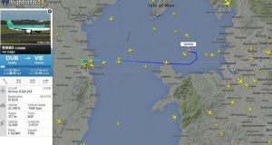 Flight tracking website AirLive.net reported that the plane turned around just over Wales. Photograph: AirLive.net.