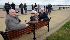 Michael Doherty and his mother Elizabeth Doherty with Fred Espey, Sandycove Bathers Association, at the unveiling of a bench in memory of Thomas Doherty a regular swimmer at the Forty Foot, who died while swimming in 1987. Photograph: Eric Luke/The Irish Times.