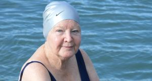 Irene Pollock at Sandycove for her swim. Photograph: Cyril Byrne
