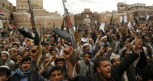 Houthi rebels hold up their weapons during a rally against Saudi air strikes in Sanaa, capital of Yemen recently. Photograph: Khaled Abdullah/Reuters