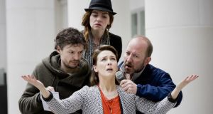 Richard Clements, Maria Connolly, Frank McCusker and Róisín Gallagher in Tinderbox's Lally the Scut. Photograph: Brian Morrison