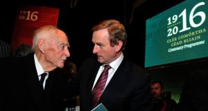 Former taoiseach Liam Cosgrave and Taoiseach Enda Kenny at the launch of the 1916 Centenary Programme in Collins Barracks. Photograph: Aidan Crawley
