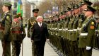 President Micheal D Higgins accompanied by Captain Eoghan O'Sullivan inspecting the guard of honour drawn from the 7th Infantry Battalion Cathal Brugha Barracks during the 99th Anniversary of the Easter Rising at the GPO. Photograph: Cyril Byrne