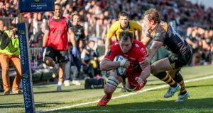 Ali Williams goes over for Toulon's second try late in the Champions Cup quarter-final victory over Wasps at  Stade Félix Mayol. Photograph: James Crombie/Inpho