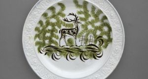 "Probably made by the Downshire Pottery,Belfast, Ireland. ""Stag"" Plate with Harp and Shamrock Border, c 1800–06. Private collection. Photograph: jamesfennell.com."