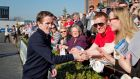 Tony McCoy is congratulated by well wishers after his last race on Irish soil at Tuesday's meeting at Fairyhouse. Photograph: Morgan Treacy/Inpho