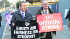 "Gerry Quinn, TUI president and Philip Irwin, ASTI president have issued a joint statement to members urging them to ""hold firm"" at this ""critical"" stage of junior cycle reform talks. Photograph: Dara Mac Donaill/The Irish Times"