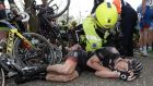 "Sam Bennett of the Bora-Argon 18 team after falling during the  ""Scheldeprijs"" one-day race. Photograph: AFP"