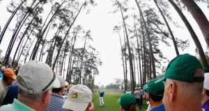 Rickie Fowler plays a tee shot during a practice round prior to the start of the 2015 Masters at Augusta National. Photograph: Ezra Shaw/Getty