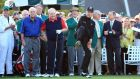 Honorary Starters Arnold Palmer and Jack Nicklaus of the United States wait alongside Gary Player of South Africa on the first tee during the first round of the 2015 Masters Tournament at Augusta National Golf Club. Photo: David Cannon/Getty Images