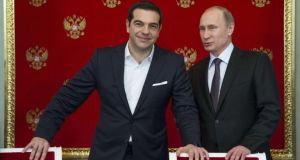 Greek prime minister Alexis Tsipras and Russian president Vladimir Putin attend a signing ceremony at the Kremlin in Moscow. Photograph: AFP Photo
