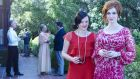 Period flair: Elisabeth Moss as Peggy and Christina Hendricks as Joan in the seventh season of Mad Men