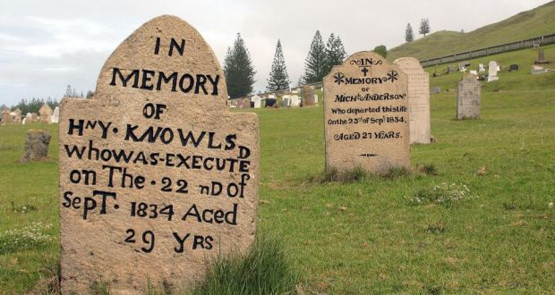 An irishmans diary on dark deeds on the penal colony of norfolk island a gravestone in the cemetery of the brutal penal colony on norfolk island photograph fandeluxe Images
