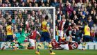 Aaron Ramsey's first half strike at Turfmoor made it eight wins on the bounce for Arsenal. Photograph: Reuters