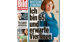 Anngret Raunigk, a 65-year-old English and Russian teacher from Berlin on the front page of Bild am Sonntag. Ms Raunigk is expecting quadruplets in summer