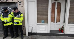 Garda preserve the scene of the fatal stabbing  on Phibsboro Road in Dublin.  Photograph: Stephen Collins/Collins Photography
