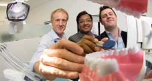 Prof Brian O'Connell, director of prosthodontics at the Dublin Dental Hospital, Dr Ramesh Babu and Dr Padraig McAuliffe, prosthodontist and researcher at the Dublin Dental Hospital.