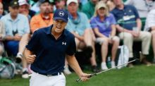 Jordan Spieth of the United States reacts to a par-saving putt on the 16th green during the final round of the 2015 Masters at Augusta National Golf Club , Georgia. Photograph:  Andrew Redington/Getty Images