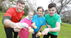 Gordon D'Arcy is pictured at the launch of Sports Dayfund-raising event for the children's charity Barretstown with Alice Flanagan, her brother Patrick and sister Olivia