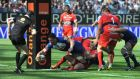 Grenoble  flanker Rory Grice scores one of his side's four tries against Toulon in their Top 14 35-24 defeat. Photograph: Jean-Pierre Clatot/AFP Photo