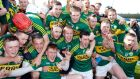 The Kerry team celebrate winning defeating Antrim to reach Division One B of the hurling league. Photograph: Inpho