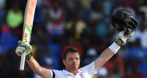 Ian Bell's 22nd Test Match century gave England control on the first day against the West Indies in Antigua. Photograph: Afp