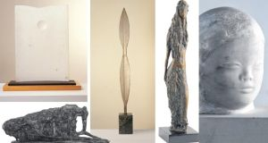 Sculptures by Gerda Frömel, clockwise from bottom left: Animal (1963), courtesy the artist's estate; Moon and Hill (1971), courtesy Imma collection; Spear (1973), courtesy Imma collection; Eve (1974), courtesy the artist's estate; and Head (circa 1967), private collection