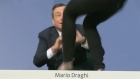 ECB chief Mario Draghi is attacked by a woman shouting and throwing confetti over him as he deliveres his press conference in Frankfurt. Video: Reuters