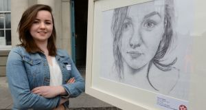 Frances Treanor (18), of Tydavnet, Co Monaghan, with Self Portrait, the overall winner at the 61st Texaco Children's Art Competition, at the Hugh Lane gallery, Parnell Square, Dublin. Photograph: Dara Mac Donaill/The Irish Times