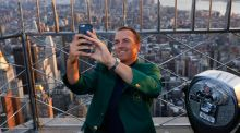 Masters Champion Jordan Spieth visits the observation deck at The Empire State Building in New York City.Photograph: Jeff Zelevansky/Getty Images
