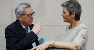 Image of the week: What could these two – European Commission President Jean-Claude Juncker and EU Competition Commissioner Margrethe Vestager – be talking about? Photograph: Reuters/Francois Lenoir