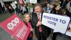 Minister for Children James Reilly and USI president Laura Harmon at an event in Dublin on Monday to encourage students to register to vote in the Mariage Equality Referendum.