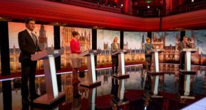 "Leader of the opposition Labour Party, Ed Miliband, Leader of Plaid Cymru, Leanne Wood, Leader of the Green Party, Natalie Bennett, Leader of the Scottish National Party (SNP), Nicola Sturgeon and Leader of the United Kingdom Independence Party (UKIP), Nigel Farage take part in the ""BBC Challengers' Election Debate. Photograph: Getty"