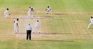 Chris Jordan took a stunning one handed catch at slip to remove Darren Bravo late on in the fourth day of the first test in Antigua. Photograph: Reuters
