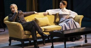 Declan Conlon (Judge Brack) and Catherine Walker in the title role in Hedda Gabler