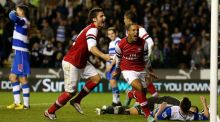 Arsenal's Theo Walcott celebrates scoring their sixth goal during the League Cup fourth round 7-5 win over Reading at the Madejski Stadium in October 2012. Photograph: Scott Heavey/Getty Images