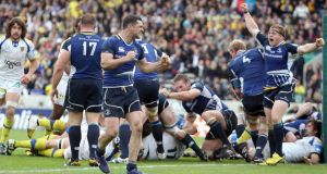Seán Cronin and Rob Kearney raise their arms in truumph as Leinster overcome Clermont 19-15 in the Heineken Cup semi-final in 2012. Photograph: Dan Sheridan/Inpho