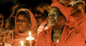 A vigil this week in Abuja, Nigeria, for the girls who were abducted by Boko Haram from a secondary school in Chibok.  Photograph: Afolabi Sotunde/Reuters