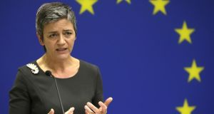 EU commissioner for competition Margrethe Vestager holds a press conference discussing the antitrust charges against Google. Photograph: Gary Cameron/Reuters
