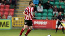 Derry City's Ryan McBride: sent off in the 85th minute for a tackle on substitute Chris Lyons. Photograph: Inpho