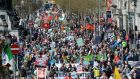 Marchers attend an anti-water charges protest in Dublin this afternoon. Photograph: Dara Mac Donaill/The Irish Times
