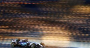 Lewis Hamilton  drives his Mercedes during   qualifying for the Bahrain  Grand Prix. Photograph: Clive Mason/Getty Images