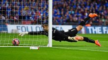 Reading goalkeeper Adam Federici  stretches for the ball but  fails to stop a shot by Arsenal's Alexis Sanchez in extra-time during the FA Cup semi-final  at Wembley. Photograph: Mike Hewitt/Getty Images